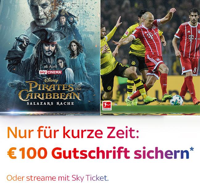 Pirates of the Caribbean: Salazars Rache © Disney Enterprises, Inc.; Fußball Bundesliga © Sky/DFL/Getty Images Europe/Matthias Hangst