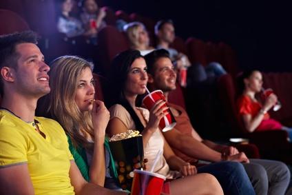 Spectators in multiplex movie theater