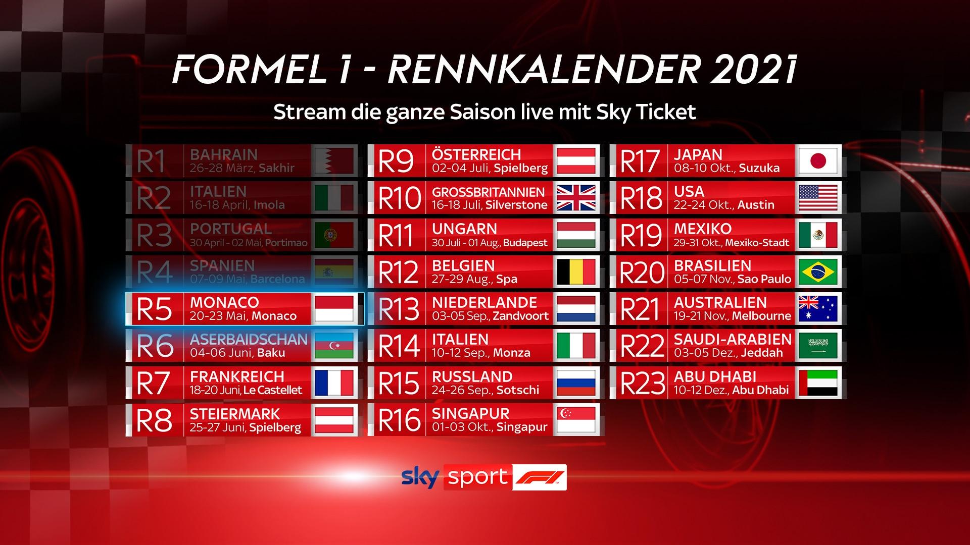 Formel 1 Rennkalender 2021